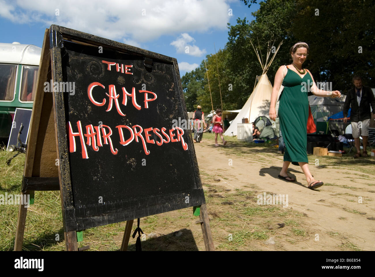 Sign for Hair Dresser at Small World an entirely off grid festival in Kent. - Stock Image