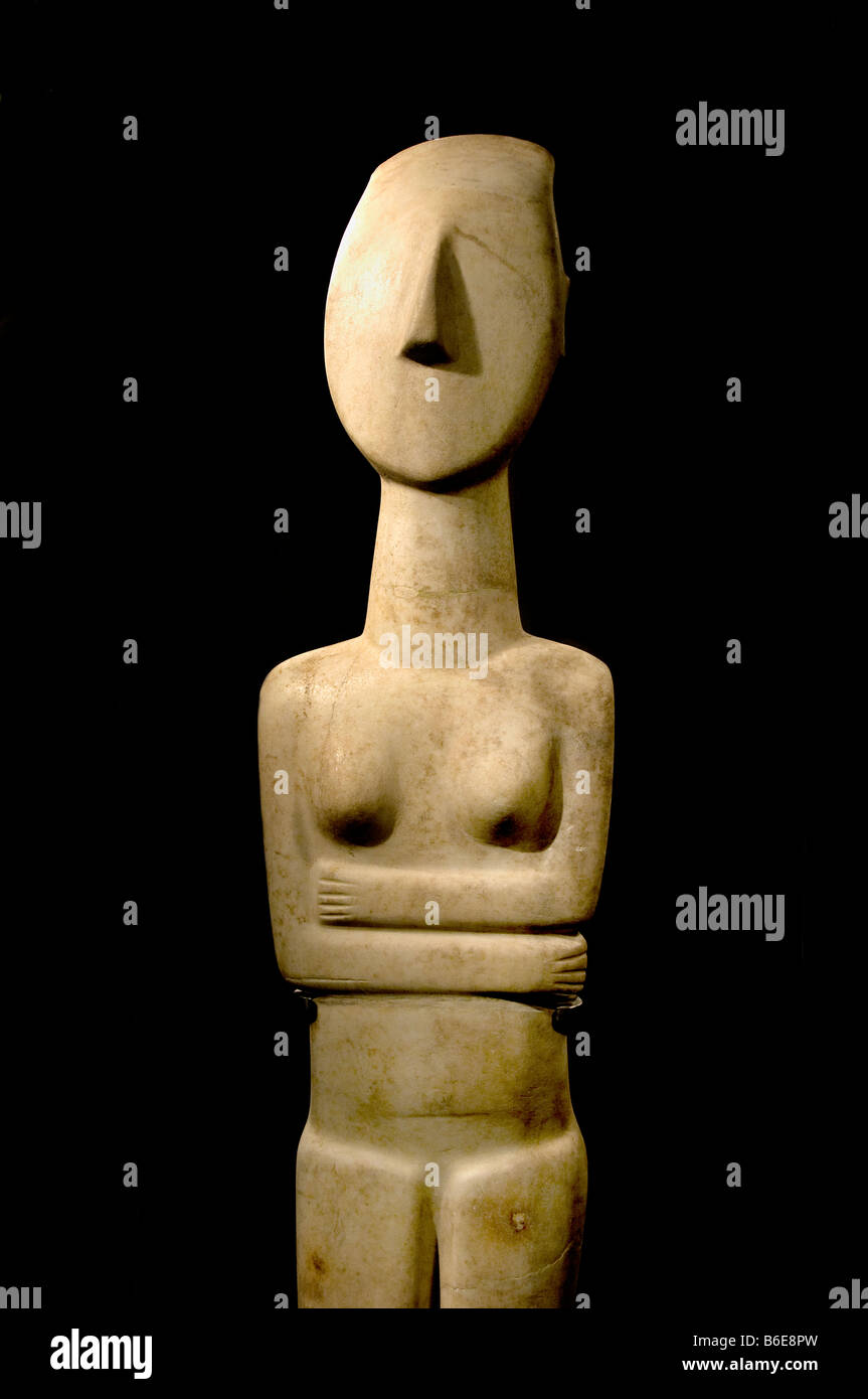 Statue cycladic ancient 2300 2800 BC Museum of Cycladic art athina athenian Athens Greece Greek - Stock Image