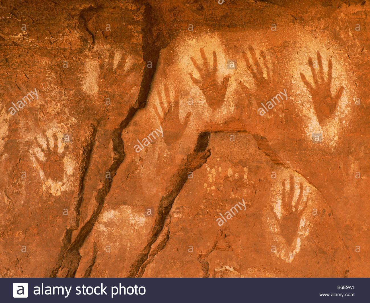 Prehistoric Anasazi culture 'hand prints' pictograph [Canyon de Chelly National Monument] Arizona - Stock Image