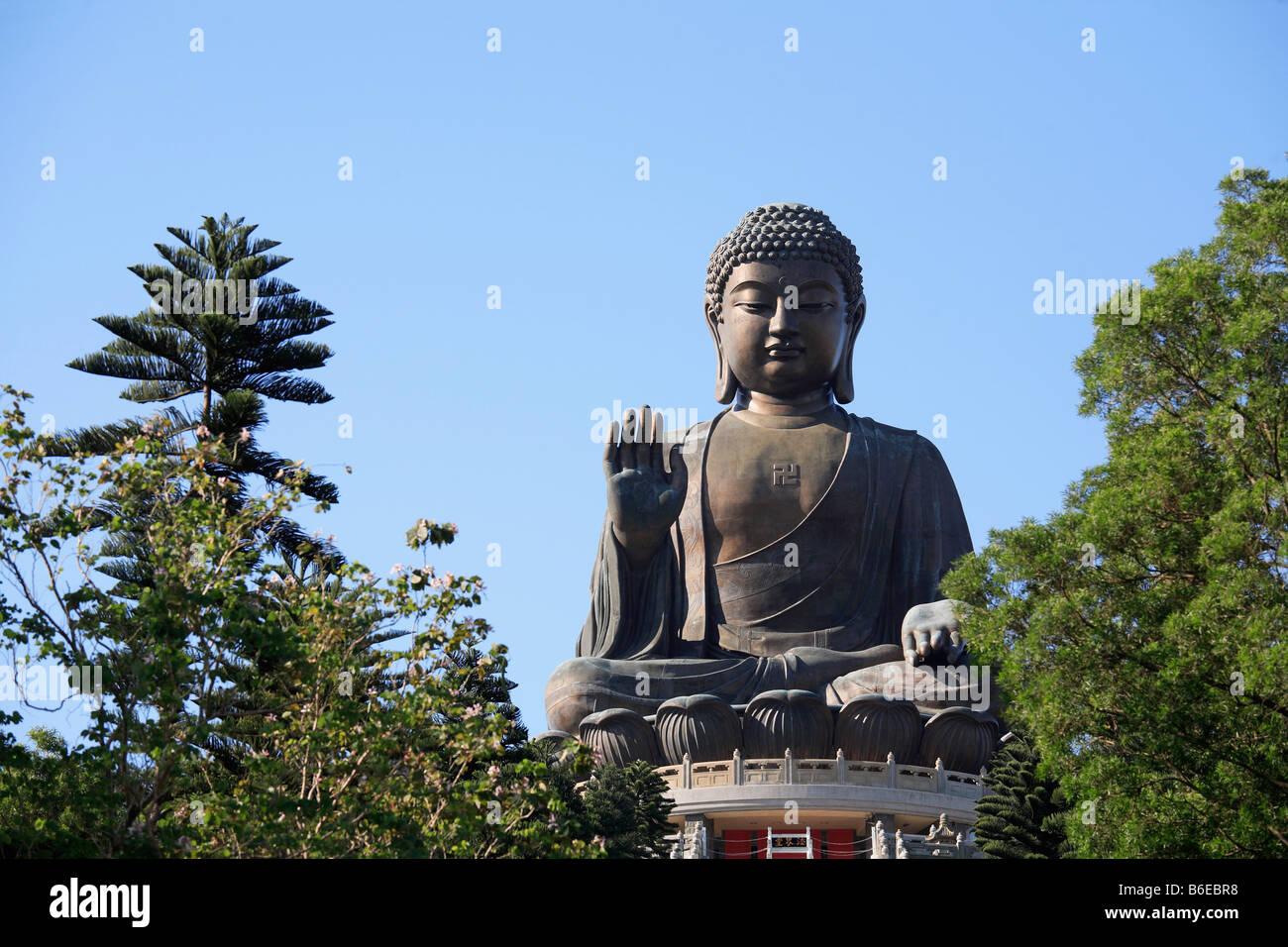China Hong Kong Lantau Island Tian Tan Buddha statue - Stock Image
