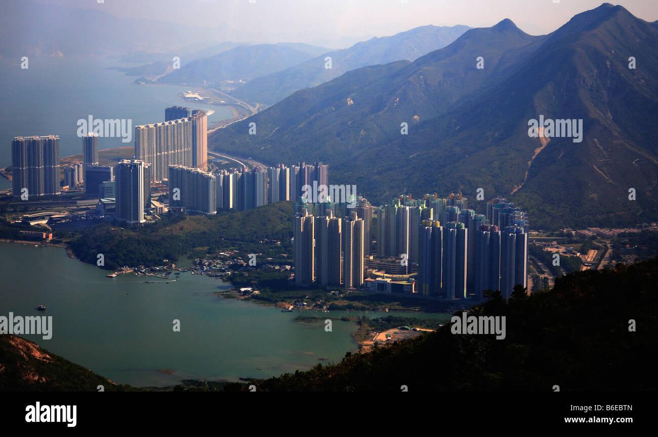 China Hong Kong Lantau Island Tung Chung town aerial view - Stock Image