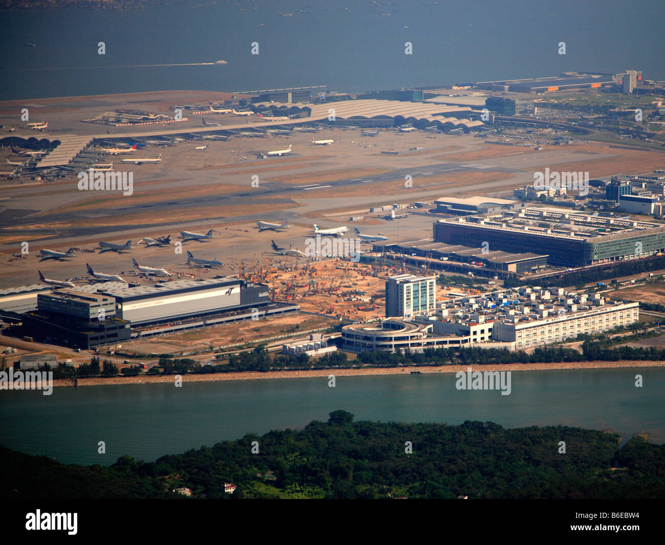 China Hong Kong Chek Lap Kok International Airport aerial view Stock Photo