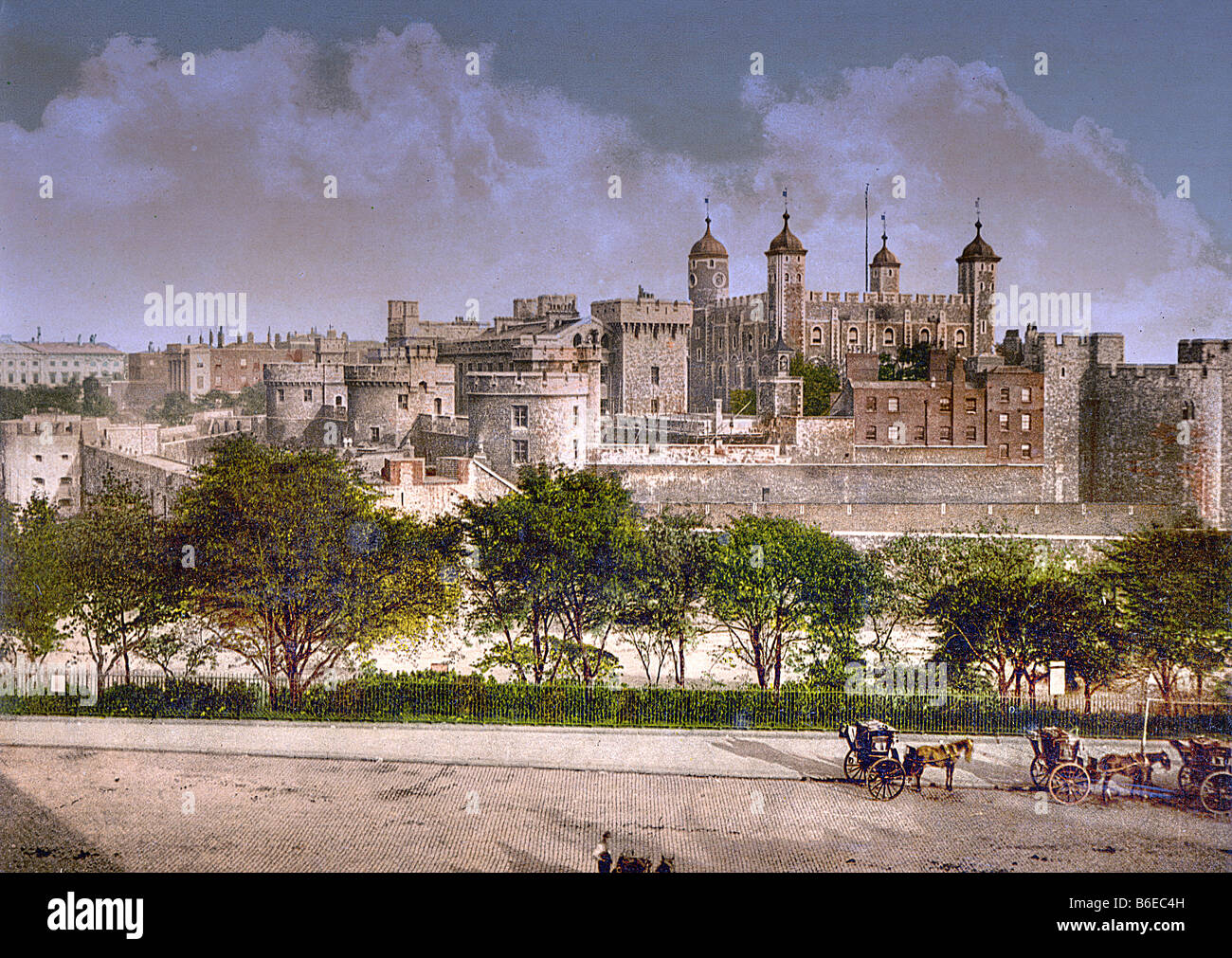 Tower of London, England circa 1890 to 1910 - Carefully restored, re-master repaired and colors enhanced to its - Stock Image