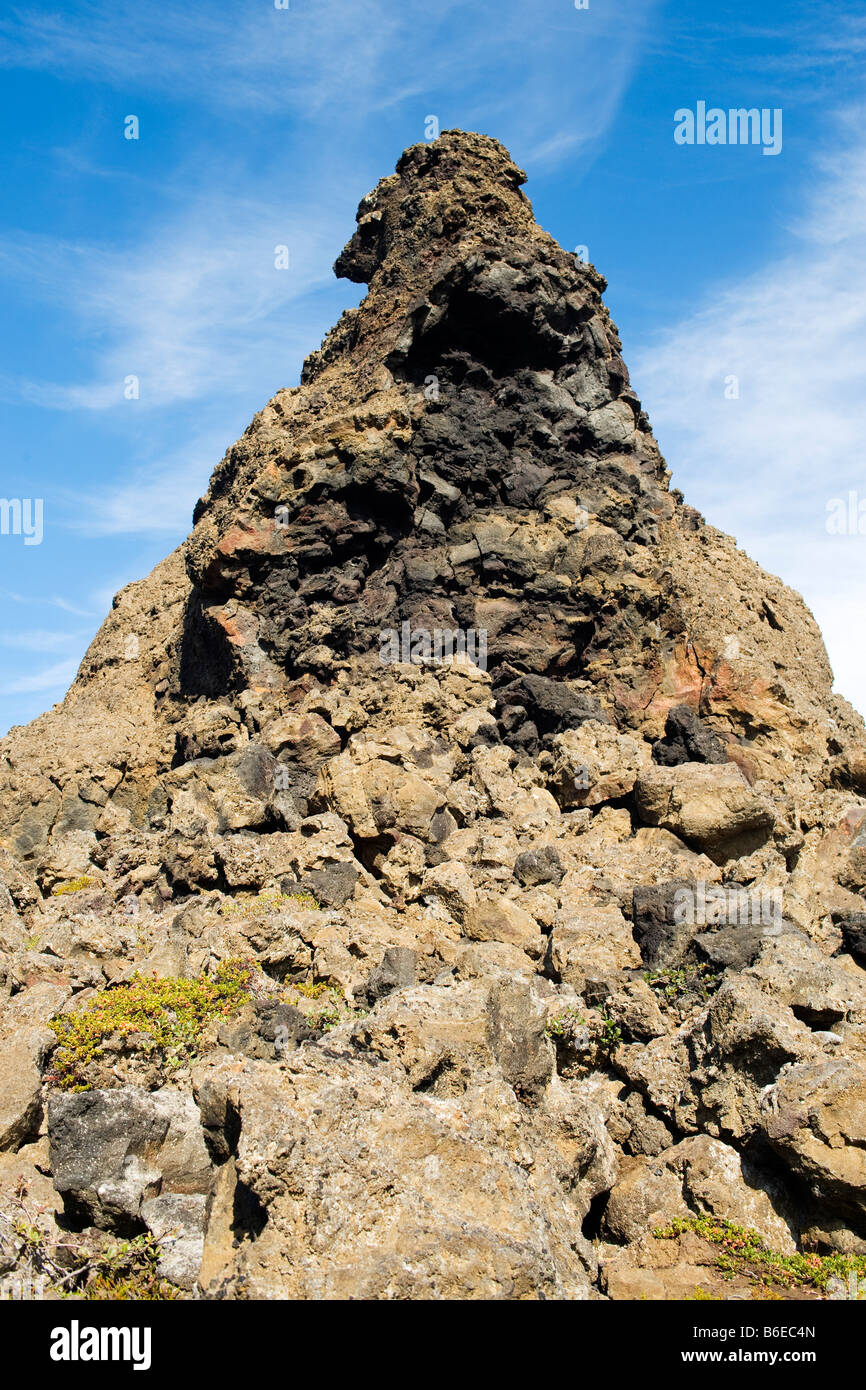 Rock formation at Dimmuborgir lava field area, east of Lake Myvatn in northern Iceland. - Stock Image