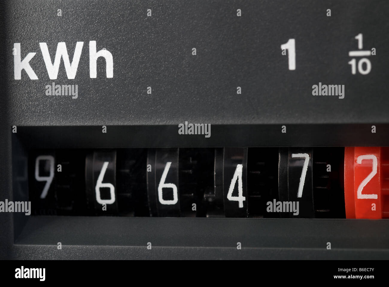 Domestic electricity meter, Suffolk, UK. - Stock Image