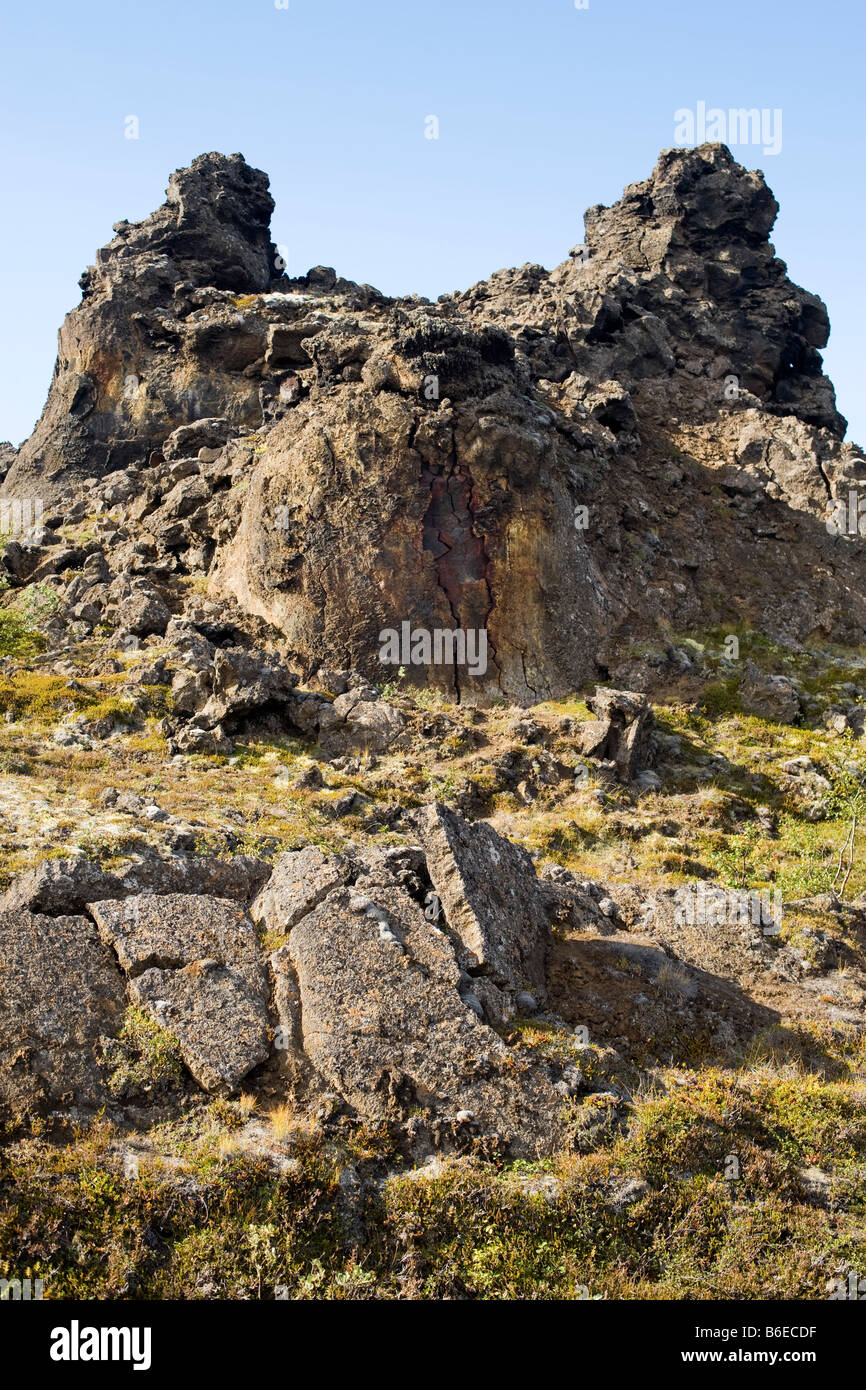 Rock formations at Dimmuborgir lava field area, east of Lake Myvatn in northern Iceland. - Stock Image