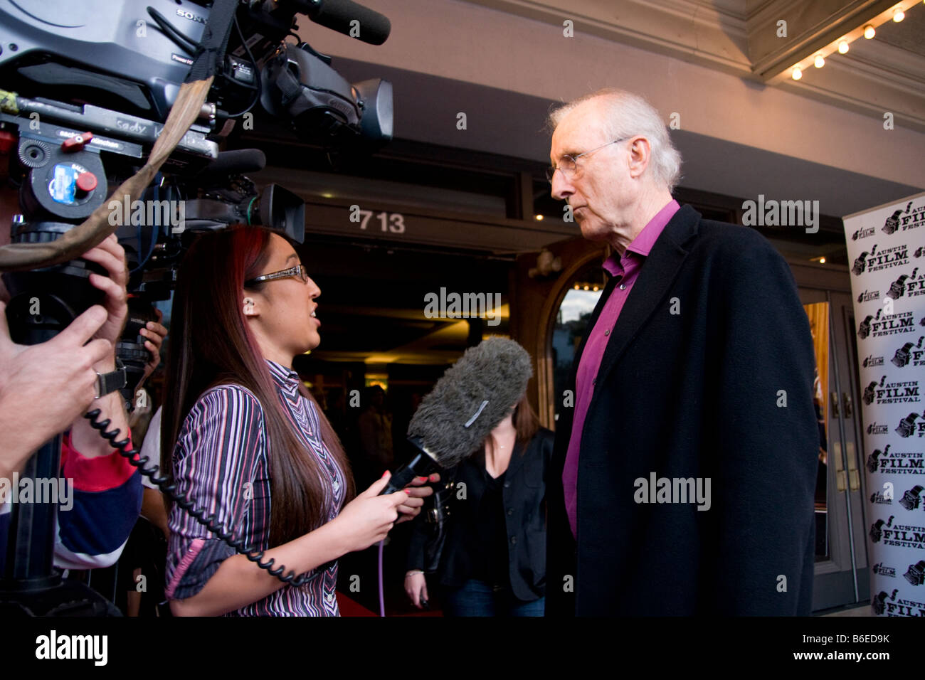Actor James Cromwell interviewed at Austin Film Festival premier of Oliver Stone film W in which he played George - Stock Image