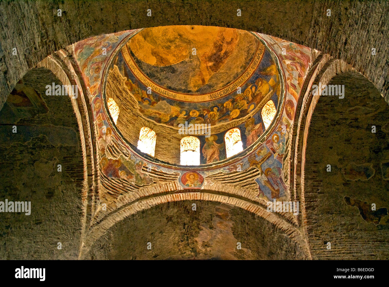 Trabzon's Aya Sofya (Church of the Holy Wisdom), Christian frescoes on vaulted ceiling and dome - Stock Image