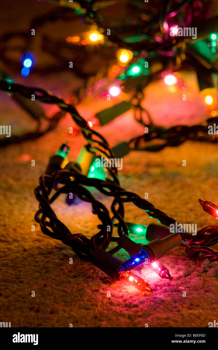 festive christmas lights scattered on the floor