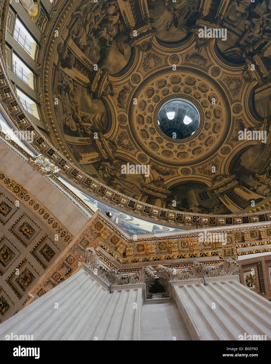 Saint Paul's Cathedral Dome Interior & Entablature - Stock Image