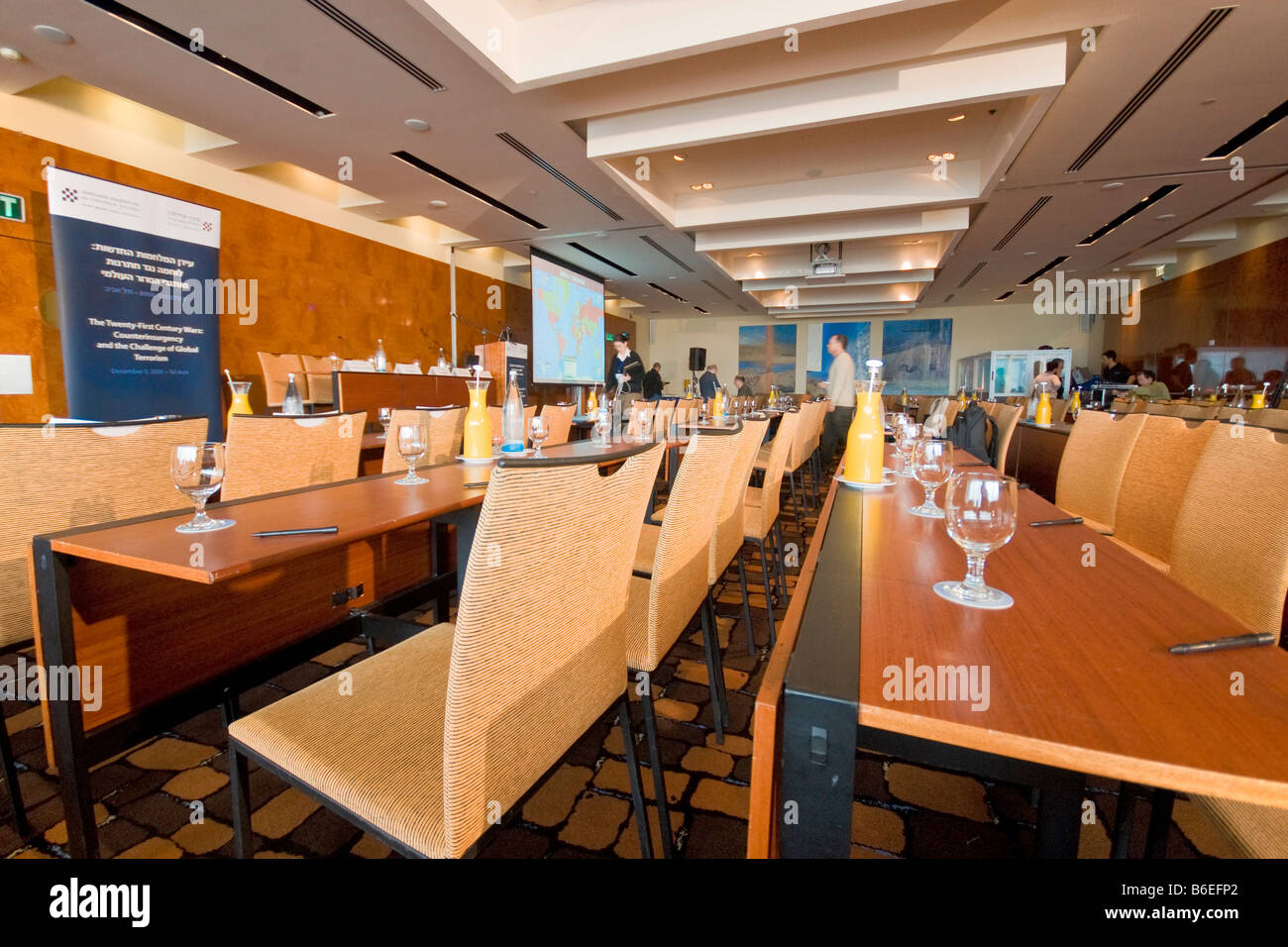 General view of the Sheraton Plaza Tel-Aviv conference room, at the Adelson Institute's Dec. 2008 Counterinsurgency Stock Photo