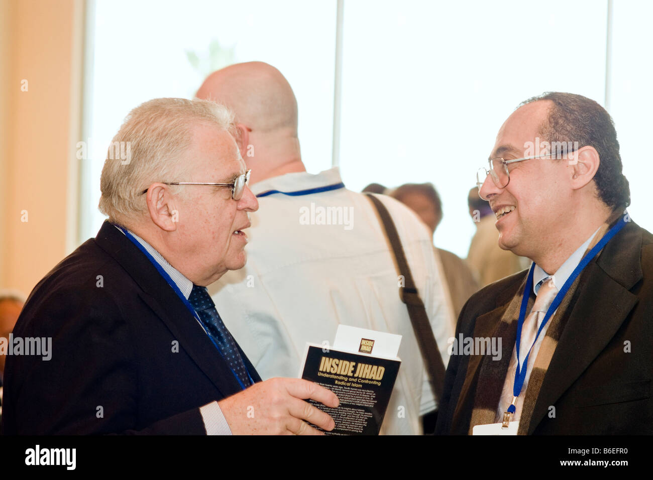 Dr. Tawfik Hamid and Prof. Edward Luttwak discuss Hamid's book the Adelson Institute's Dec. 2008 Counterinsurgency Stock Photo
