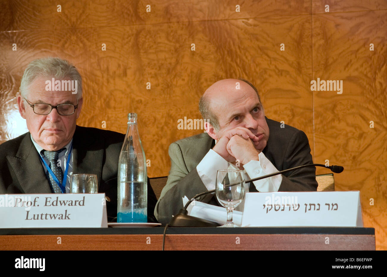 Nathan Sharansky, chairman of the Adelson Institute and Prof. Edward Luttwak during the Dec. 2008 Counterinsurgency Stock Photo