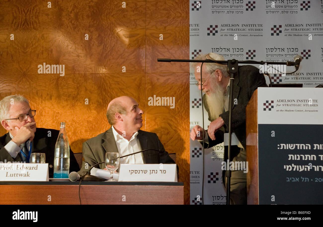 Nathan Sharansky,Noble prize winner prof. Robert Aumann and prof. Edward Luttwak during Adelson Institute's Dec. Stock Photo