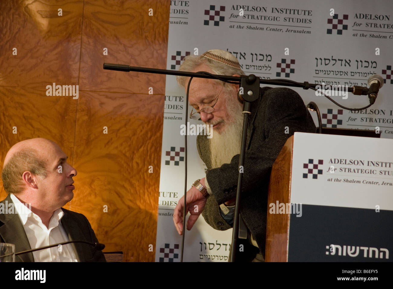 Nathan Sharansky and Noble prize winner Prof. Robert Aumann during Adelson Institute's Dec. 2008 Counterinsurgency Stock Photo