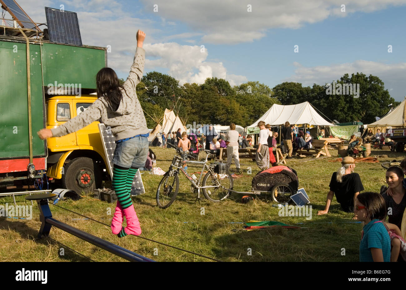 Children at Circus workshop at Small World a small and entirely off grid festival in Kent. - Stock Image