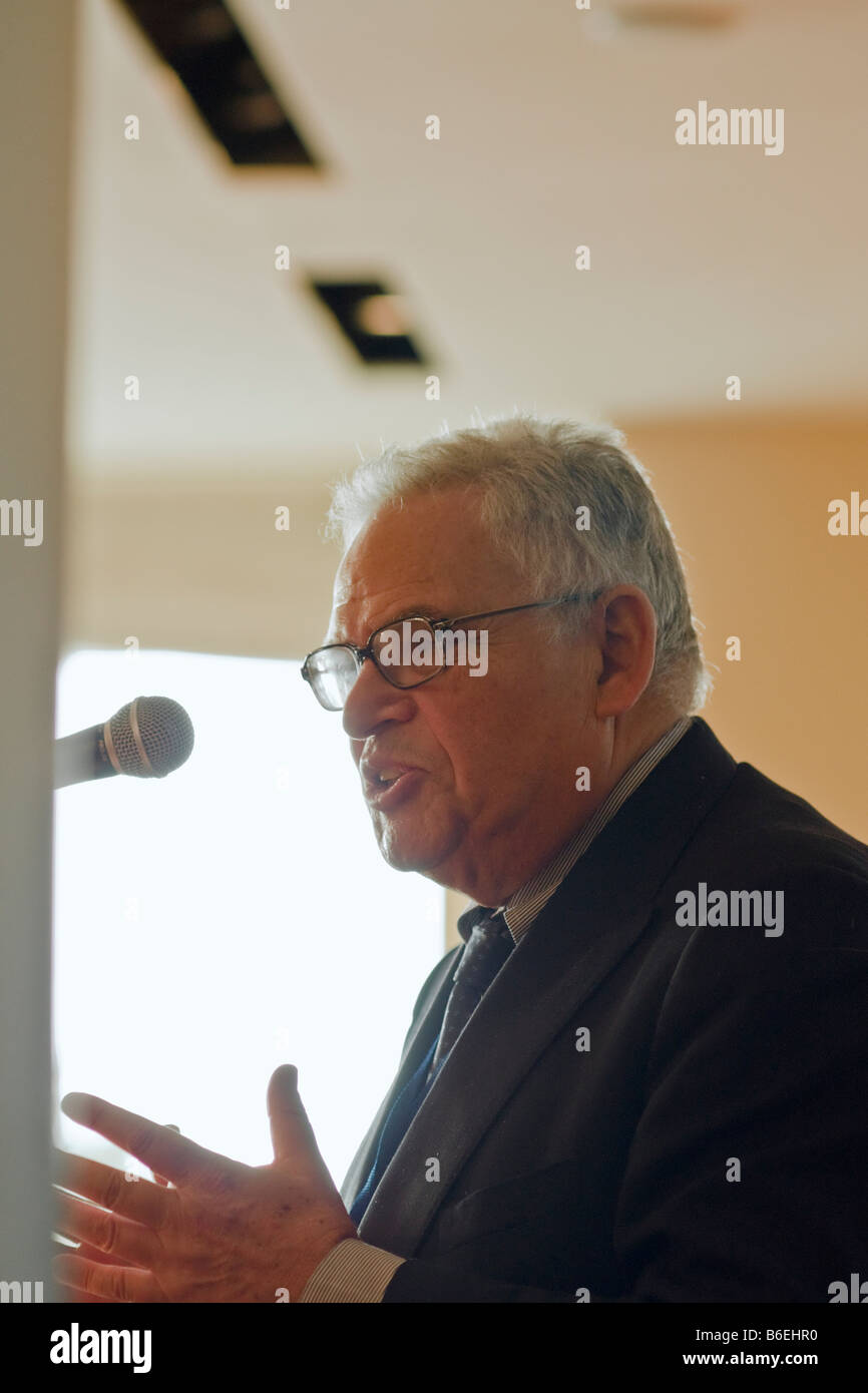 Prof. Edward Luttwak speaks during the December 2008 Counterinsurgency Conference of the Adelson Institute for Strategic Stock Photo