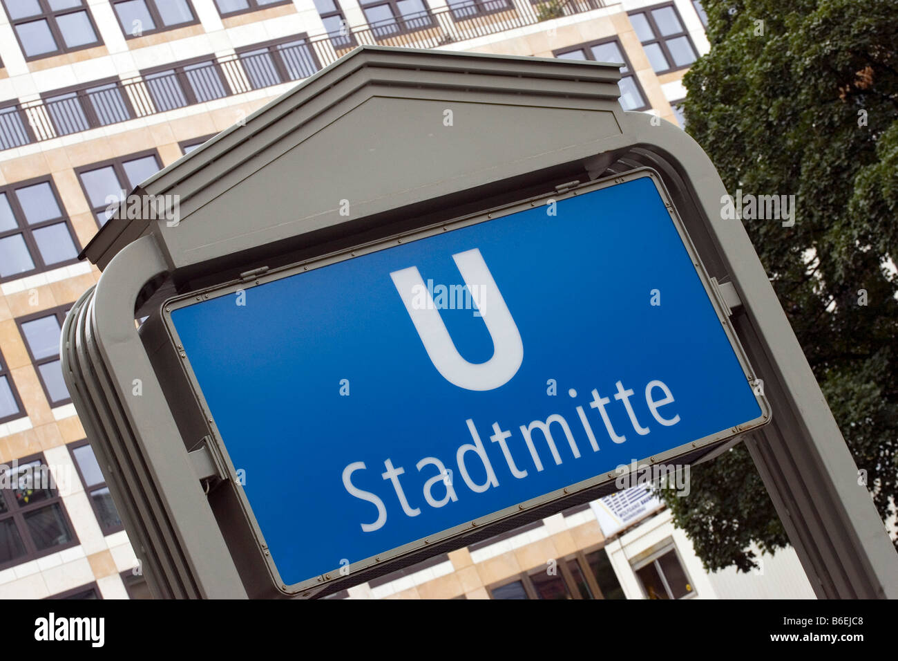 Sign for a tube entrance in the city centre of Berlin, Germany, Europe - Stock Image
