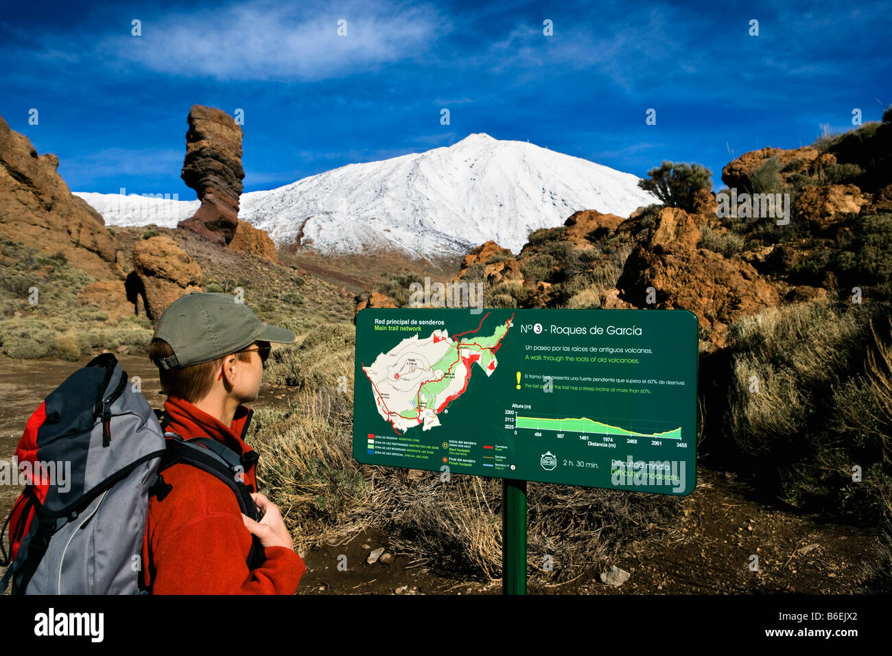 Spain. Canary Islands. Tenerife. National Park called TEIDE. Woman hiking and reading map with El Teide volcano - Stock Image