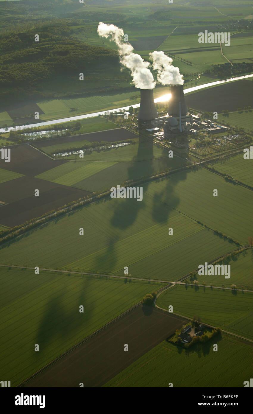 Aerial photograph, AKW, Atomkraftwerk, atom power plant, Weser, two cooling towers evaporating water, shadows, Grohnde, - Stock Image