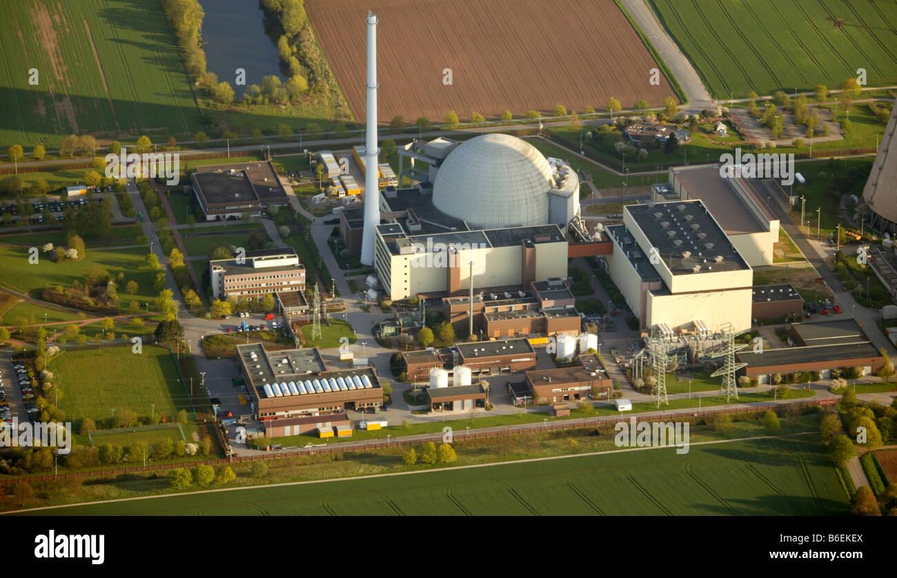 Aerial photograph, AKW, Atomkraftwerk, atom power plant, Weser, Grohnde, Emmerthal, Lower Saxony, Germany, Europe - Stock Image
