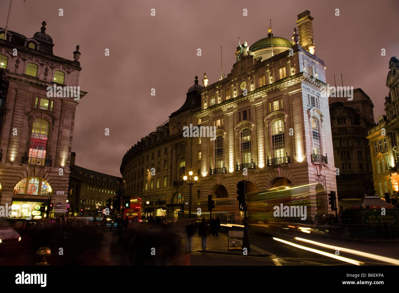 london picadilly circus night city time exposure - Stock Image
