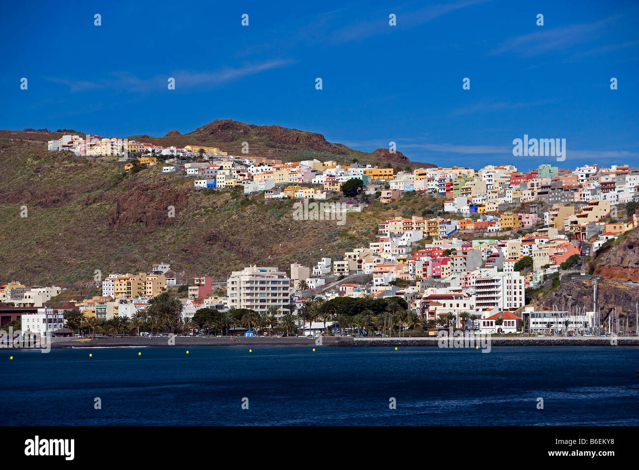 Spain, Canary Islands, La Gomera Island. Port and city of San Sebastian - Stock Image