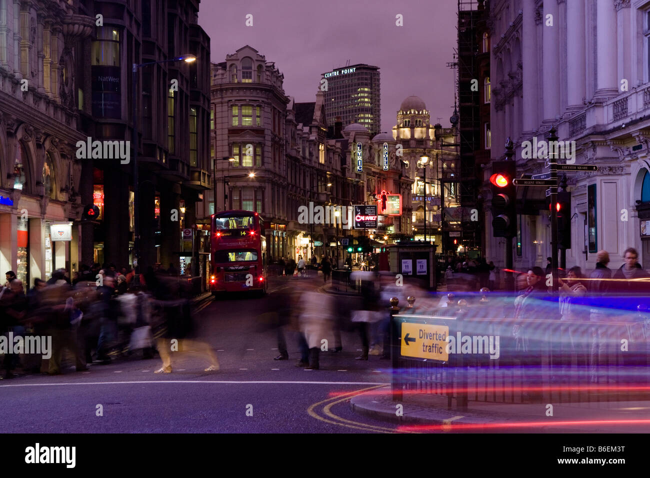 long night exposure of road opposite Piccadilly circus, shaftesbury avenue london - Stock Image