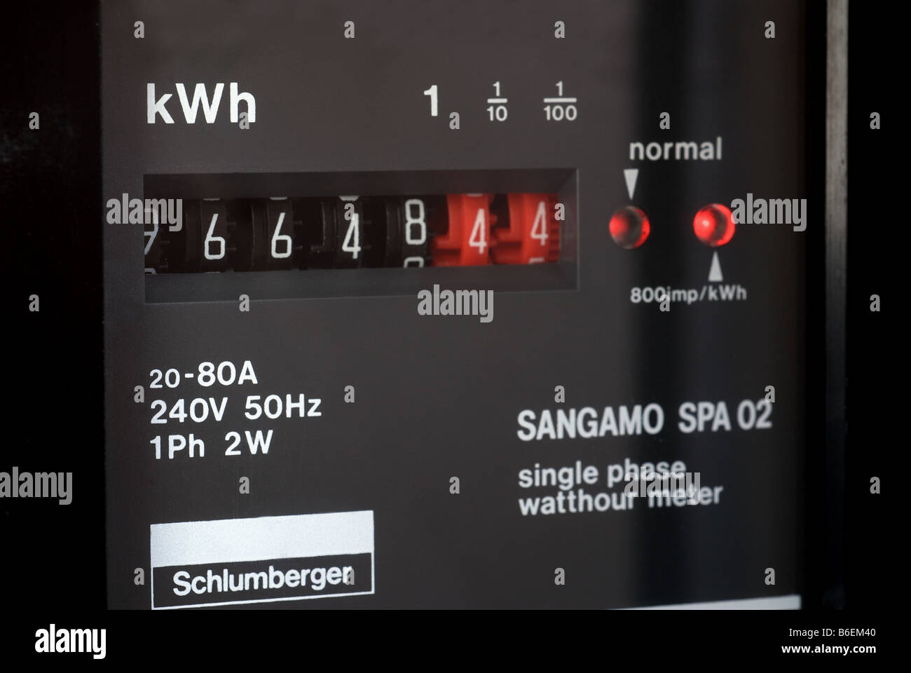 Domestic electricity meter, Suffolk, UK. Stock Photo