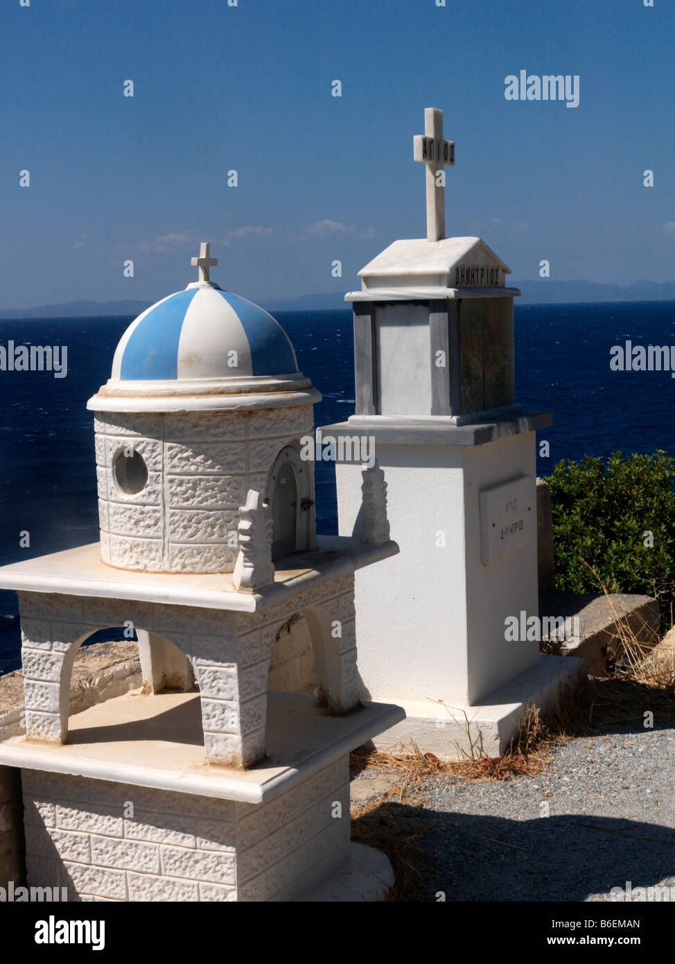 Shrines Kalami Samos Greece - Stock Image