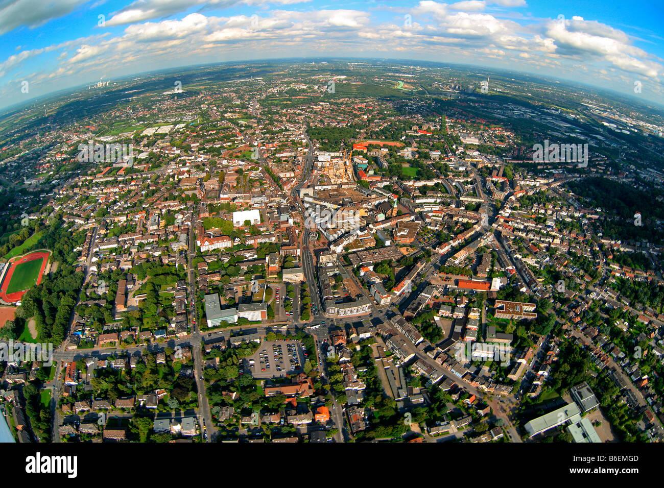 Aerial photograph, long shot, fisheye shot, inner city, Bottrop, Ruhr Area, North Rhine-Westphalia, Germany, Europe - Stock Image
