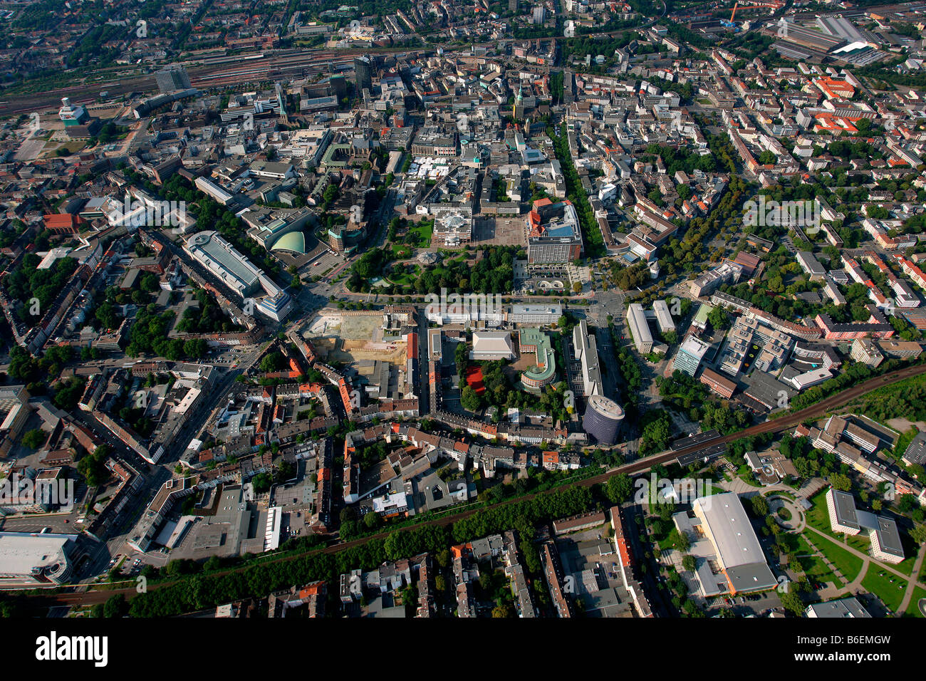 Aerial photograph, inner city, outward road, Dortmund, Ruhr Area, North Rhine-Westphalia, Germany, Europe - Stock Image