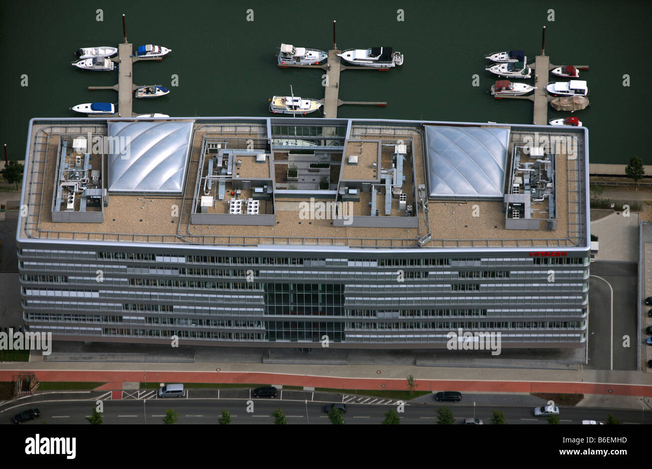 Aerial photograph, inbound harbour, Alltours, wood harbour, Hitachi, Duisburg, North Rhine-Westphalia, Germany, - Stock Image