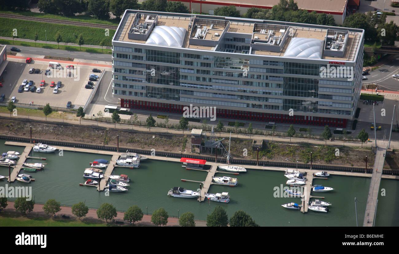 Aerial photograph, inbound harbour, Alltours, wood harbour, Hitachi, Duisburg, Ruhr Area, North Rhine-Westphalia, - Stock Image