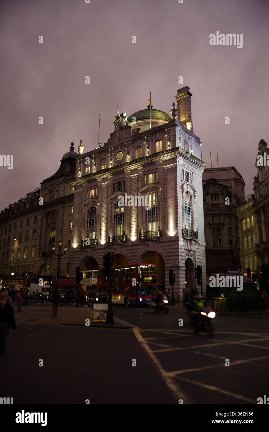 long night exposure of building overlooking Piccadilly circus regent street london - Stock Image