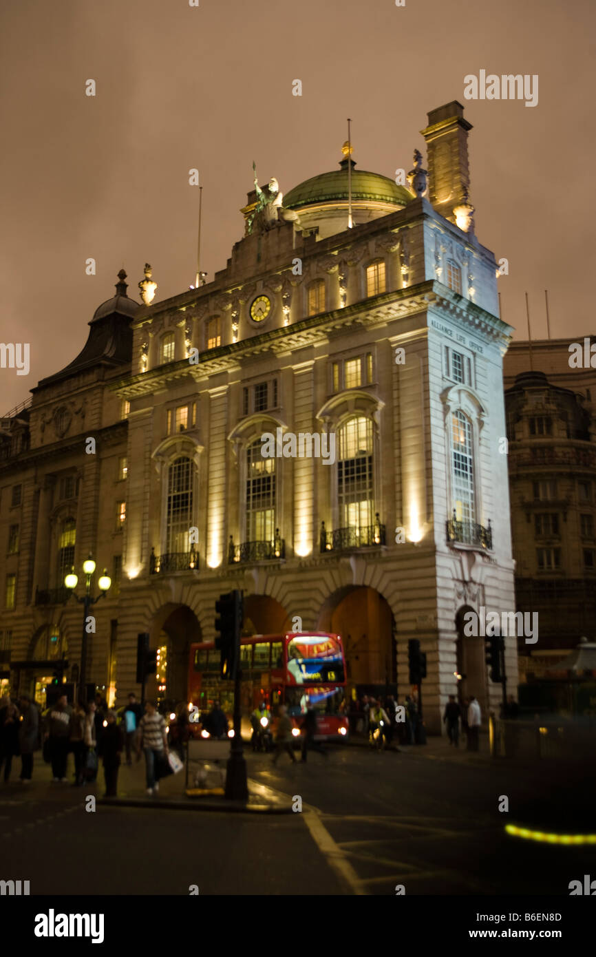 long night exposure of building overlooking Piccadilly circus regent street london Stock Photo