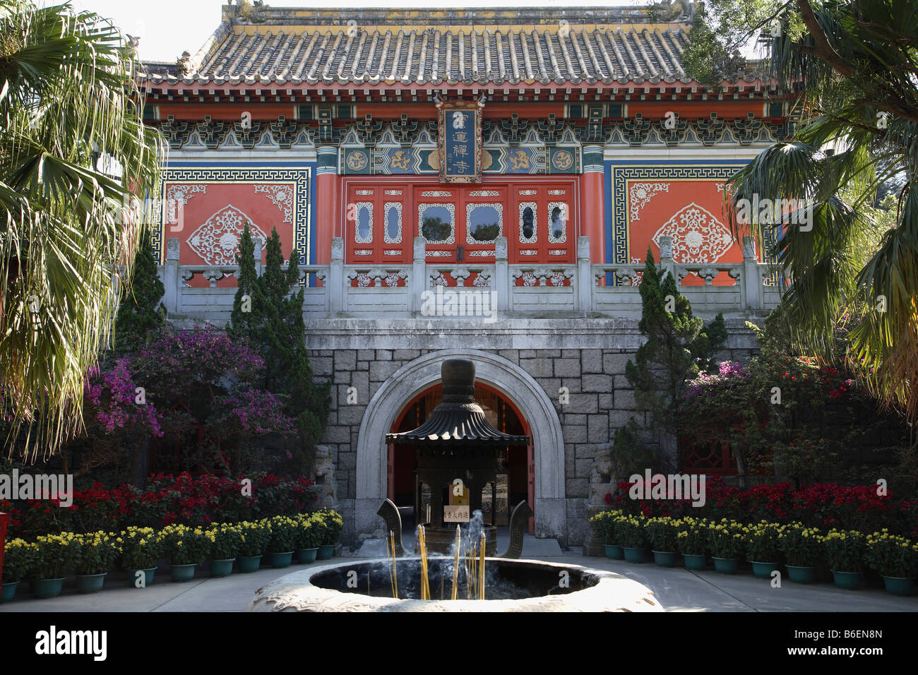 China Hong Kong Lantau Island Po Lin buddhist monastery Stock Photo
