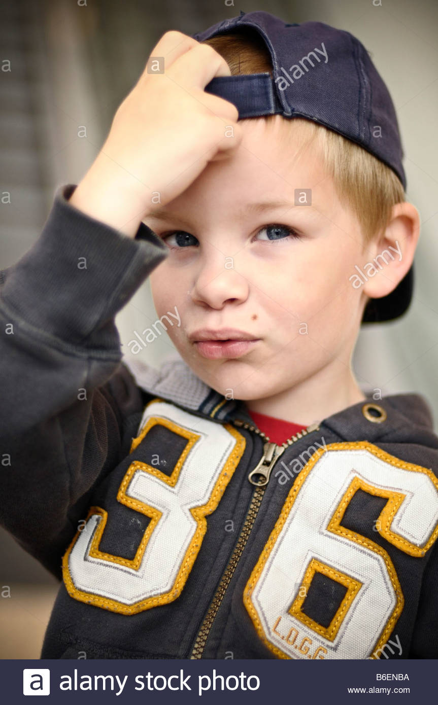 Boy with cap - Stock Image