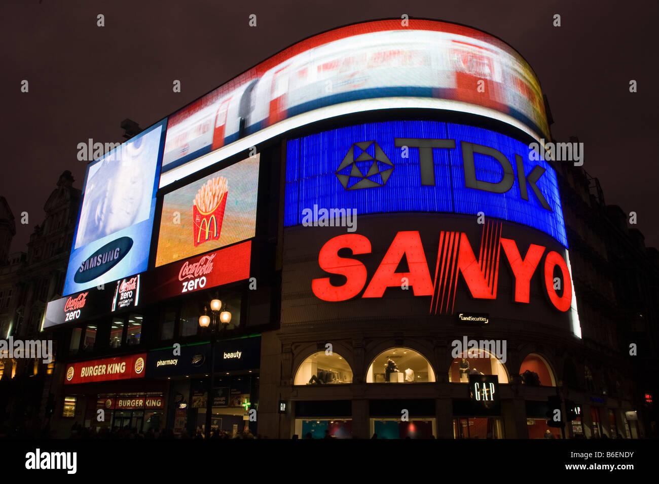 neon signs at picadily circus london - Stock Image