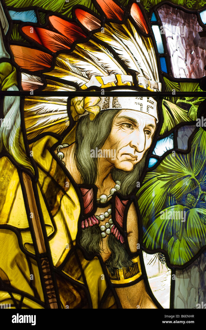 This Native American is watching as Robert Cavelier Sieur de la Salle lands at the shores of what would become Detroit, - Stock Image