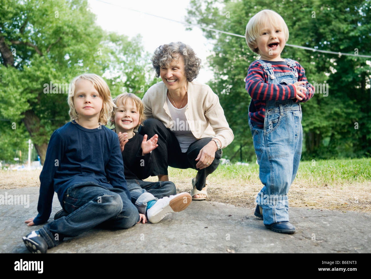 Woman with children - Stock Image