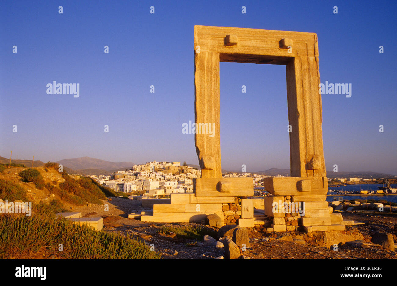 Portara, marble gate of Naxos City, Naxos Island, Greece, Europe - Stock Image