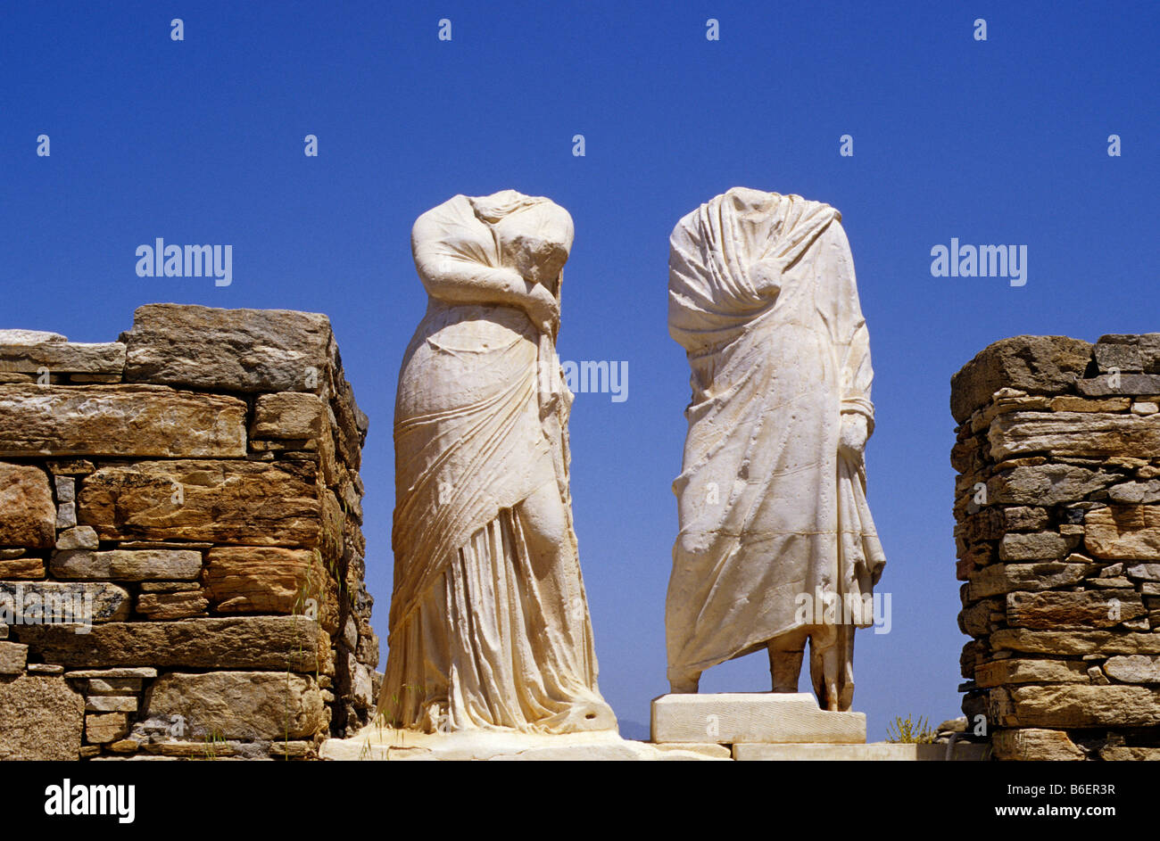 Antique Statues Without Heads On The Island Of Delos Greece Europe