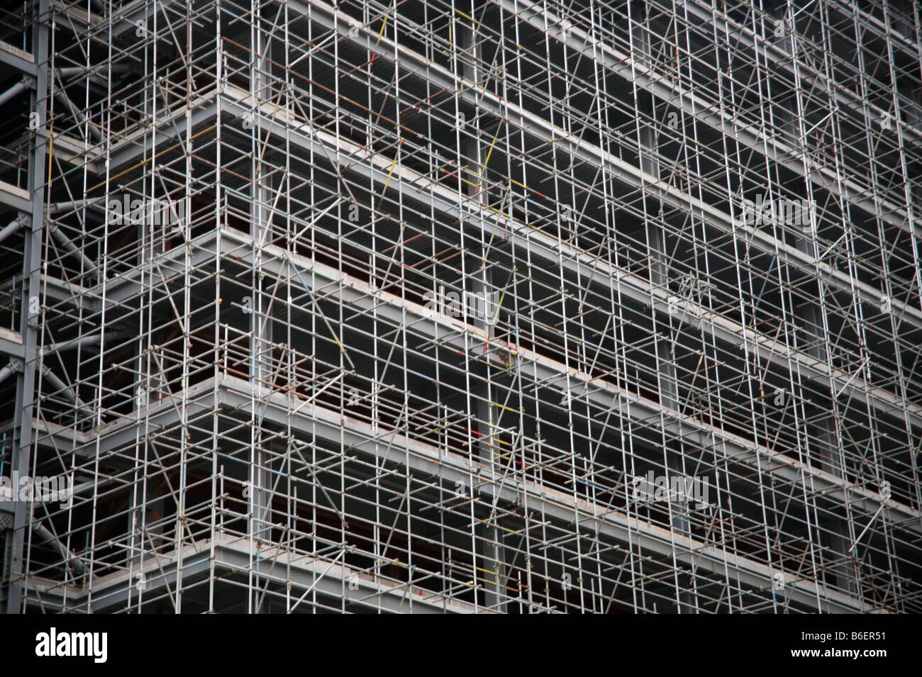 Scaffolding on construction site in London's Docklands - Stock Image