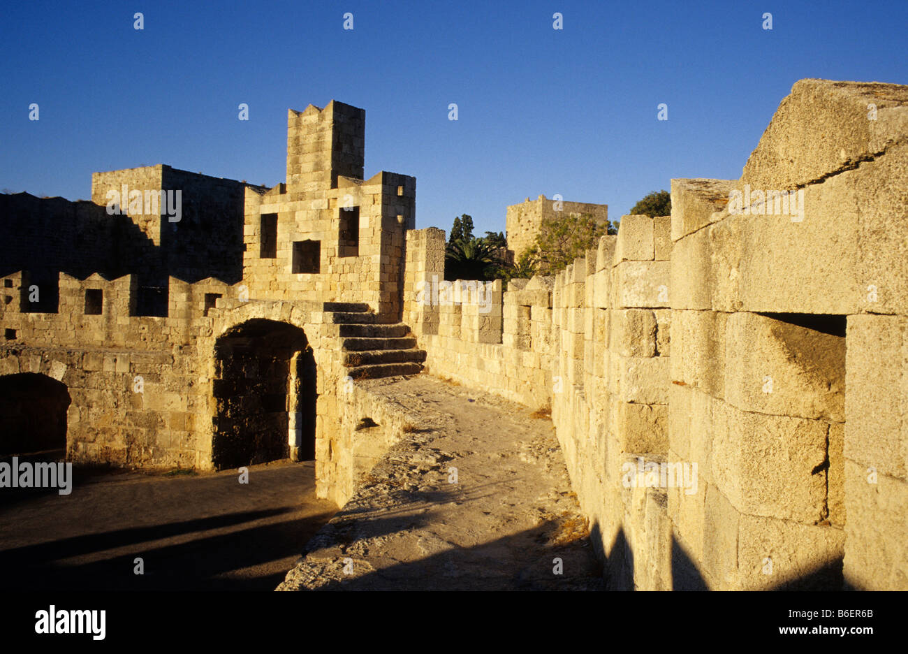City wall, Rhodes City, Rhodes Island, Greece, Europe Stock Photo