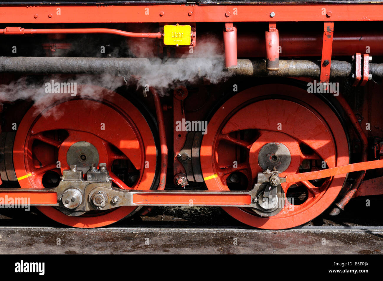 Steam locomotive engine, detail, from the narrow-gage train called the Rasenden Roland on Ruegen Island, Baltic - Stock Image