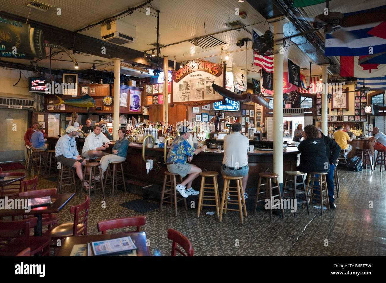 Interior of Sloppy Joe's Saloon, Duval Street in the old town, Key West, Florida Keys, USA - Stock Image