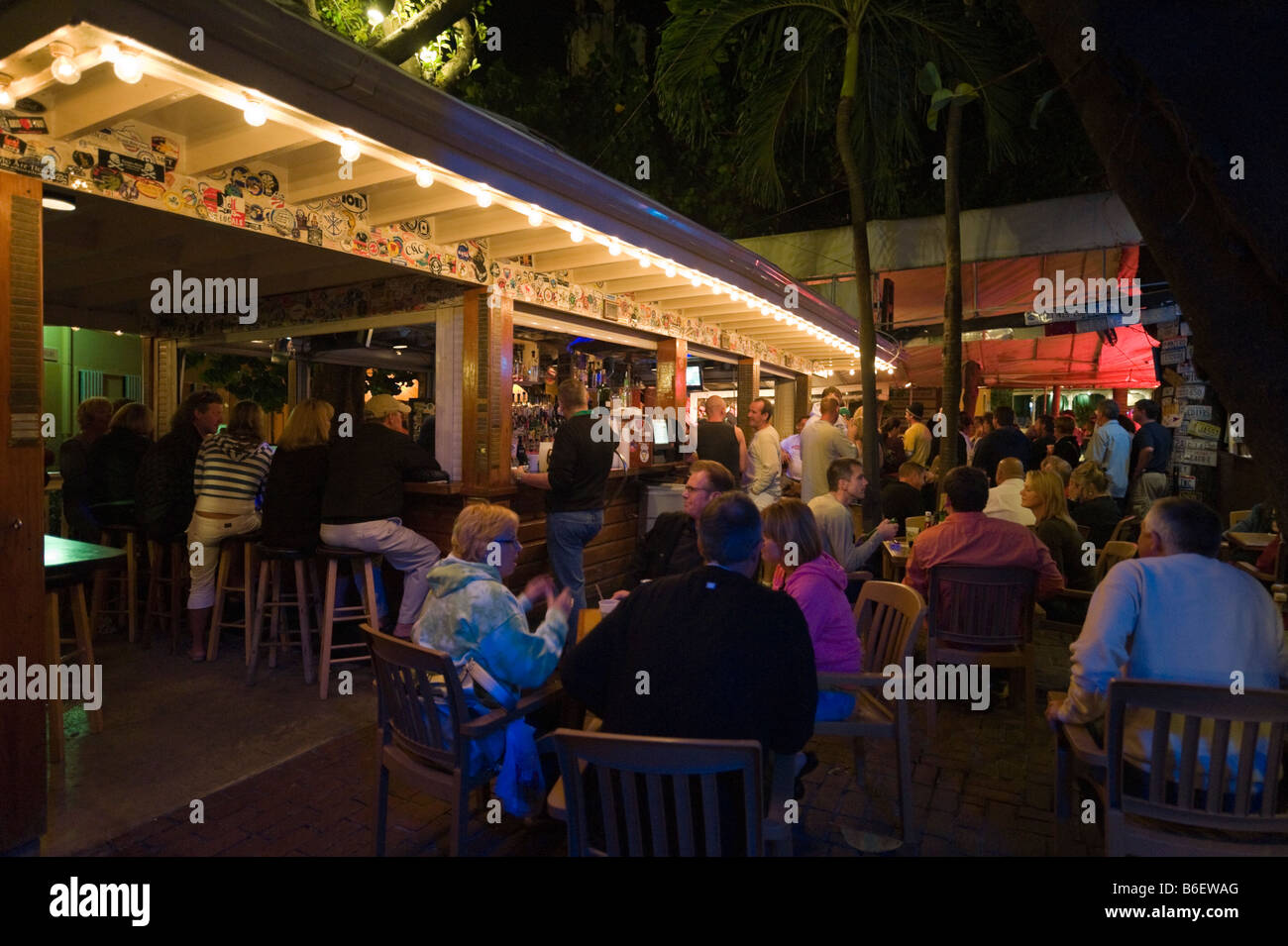 Hogs Breath Saloon just off Duval Street at night, Old Town, Key West, Florida Keys, USA - Stock Image