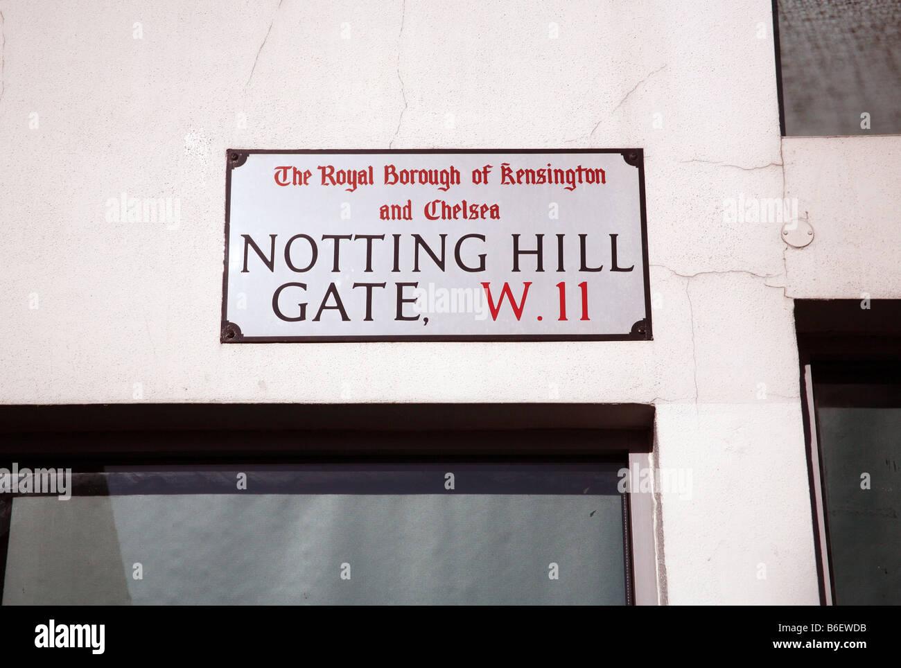 Street sign, Notting Hill Gate, London - Stock Image