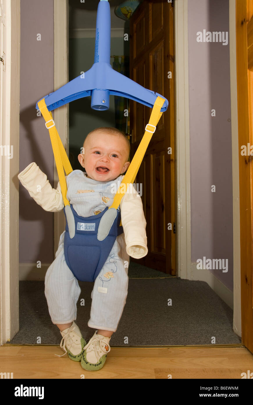 3680961a9 Happy Laughing Baby Boy Joshua Kailas Hudson Playing in Baby Bouncer ...